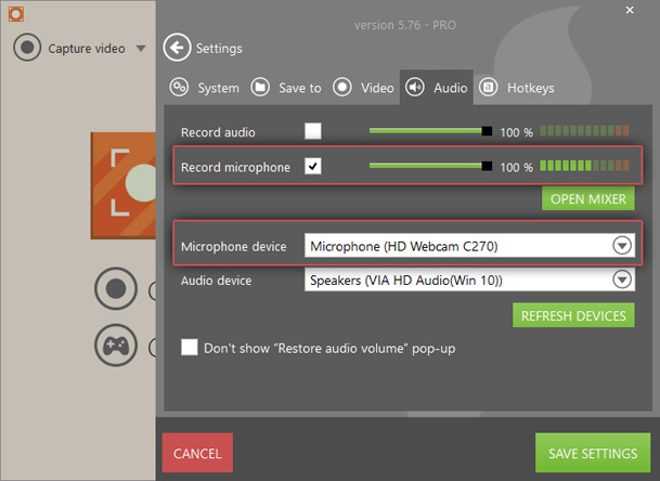 Audio settings of webcam recorder