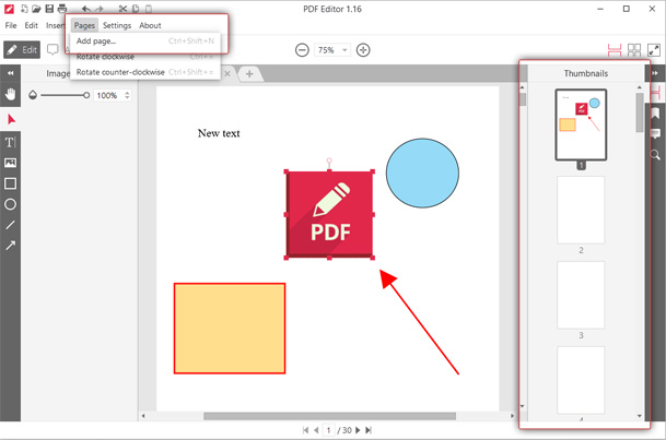 Add more pages to PDF