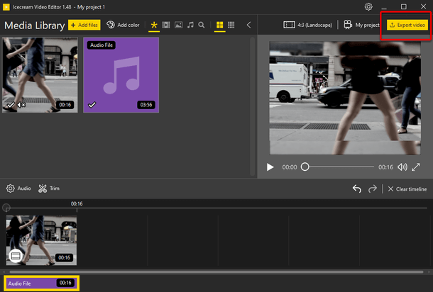 Export video button