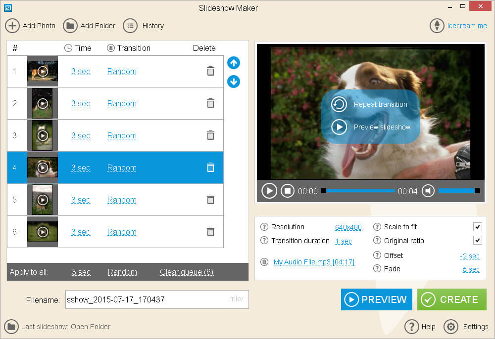 Make a Slideshow with Music: Customize the settings