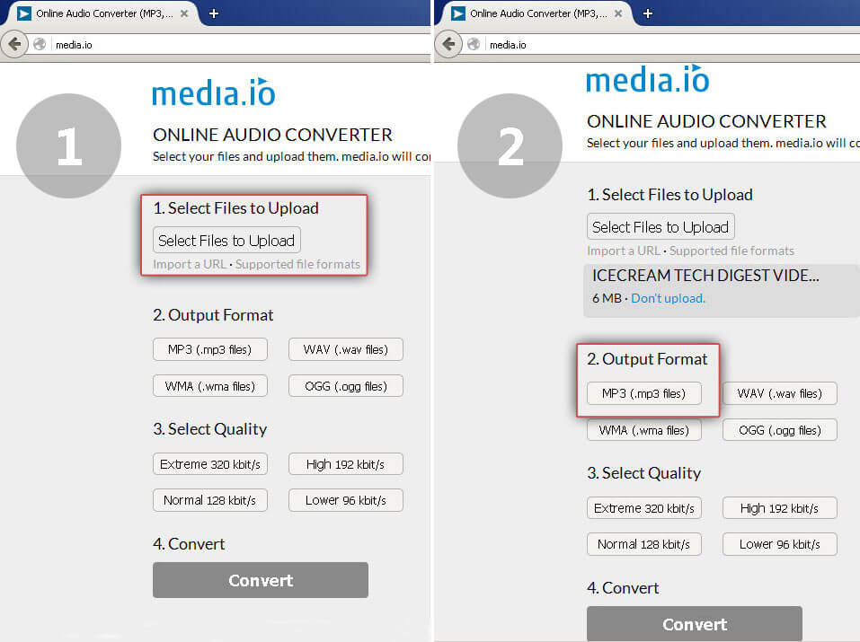 Media.io: add video to convert to MP3
