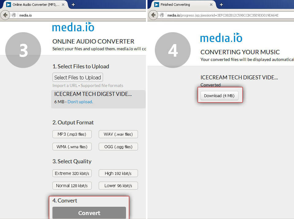 Media.io: Convert and download MP3 file