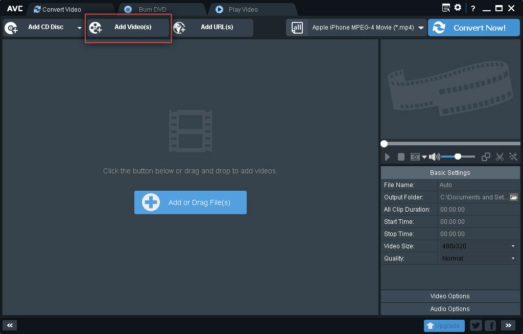 Any Video Converter: Add files