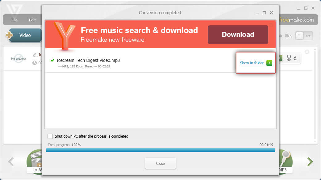 Freemake Video Converter: Click Show in folder button