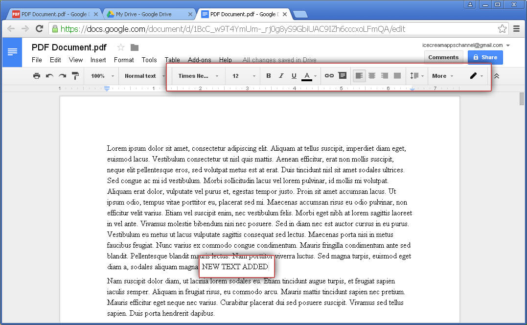 google document edit pdf