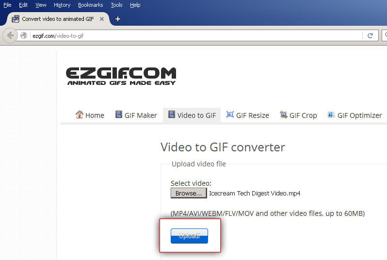 EZGIF: Upload video file
