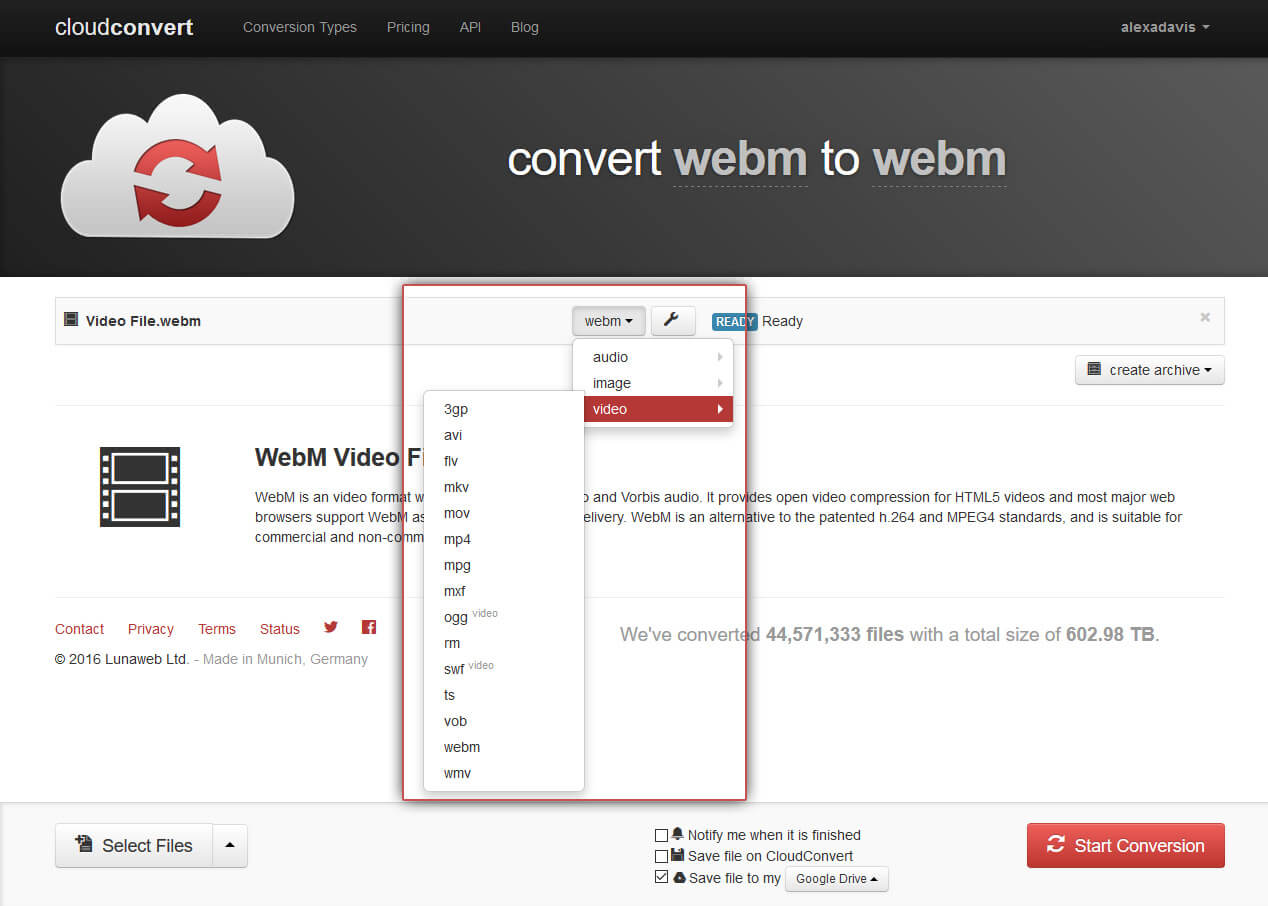 Select the video format with which you want to convert the file