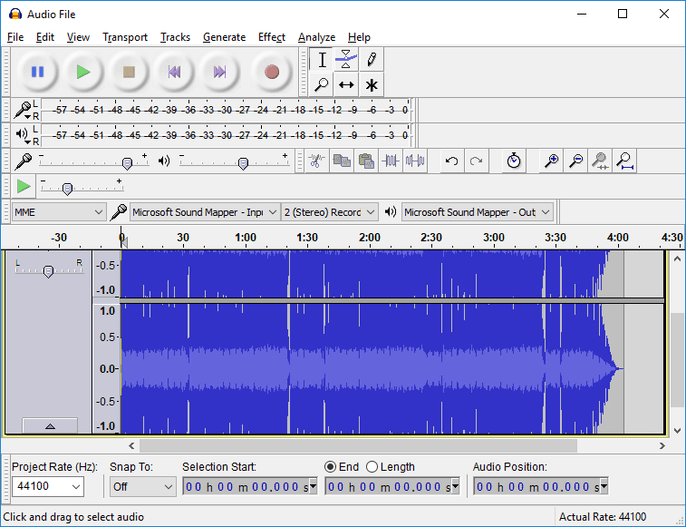 Audacity free recording software