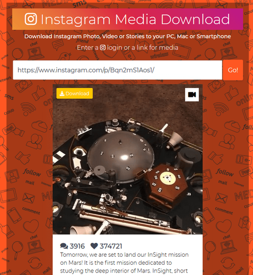 Download videos from Instagram on a PC: Step 2