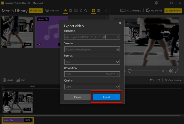 Create new output video
