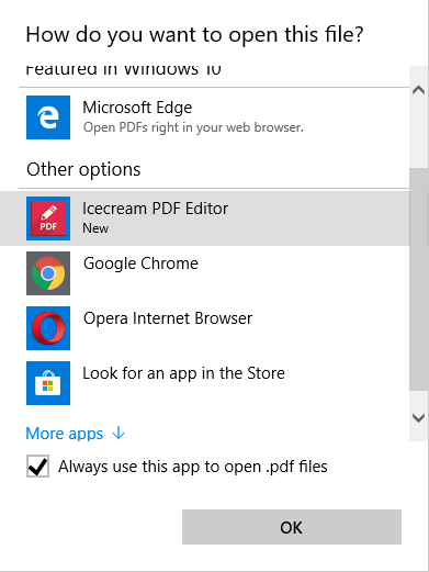 Set program as the default app for reading PDF
