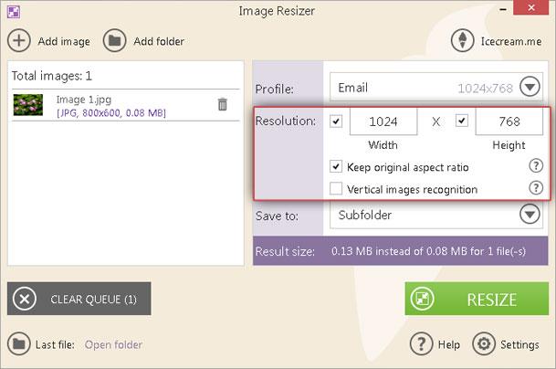 Resize an Image with Image Resizer - Icecream Apps
