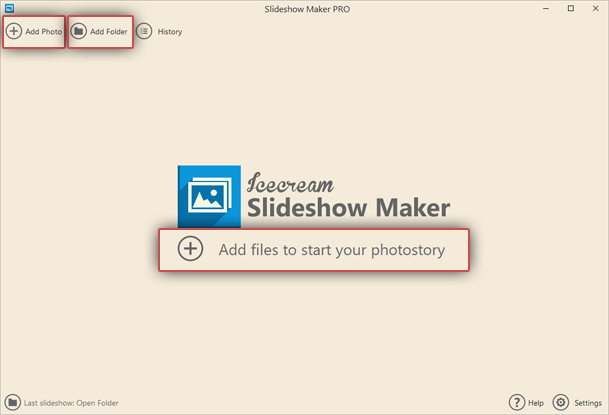 Add images to Windows slideshow maker