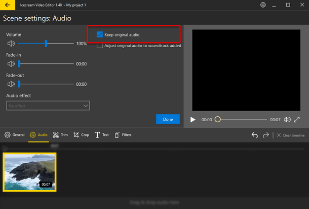 Keep original audio option