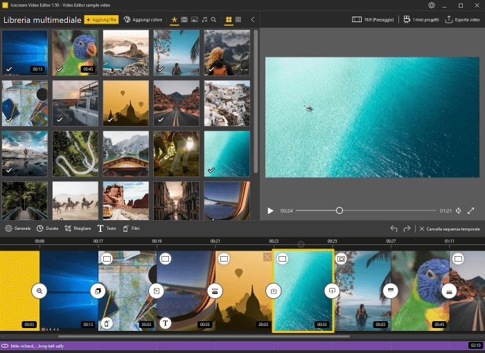 Finestra principale del video editor